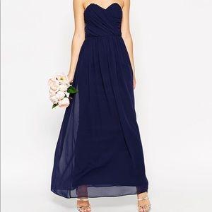 ASOS strapless chiffon formal dress navy blue  10